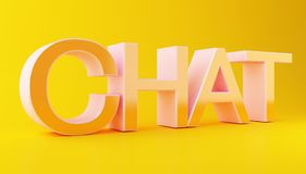 3d Chat text with speech bubble. 3d illustration. Chat text with speech bubble. Social media concept. Isolated white background Stock Photo