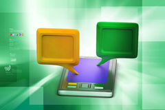 3d chatting bubble with  tablet Royalty Free Stock Photos