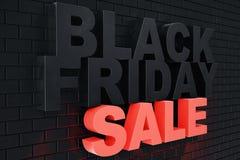 3D che rende Black Friday, messaggio di vendita per il negozio Insegna del deposito di luppolizzazione di affari per Black Friday Fotografie Stock Libere da Diritti