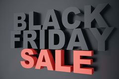 3D che rende Black Friday, messaggio di vendita per il negozio Insegna del deposito di luppolizzazione di affari per Black Friday Fotografie Stock