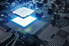 3d che rende concetto del CPU delle unità di elaborazione del computer centrale Ingegnere elettronico di tecnologie informatiche  royalty illustrazione gratis