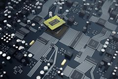 3d che rende concetto del CPU delle unità di elaborazione del computer centrale Ingegnere elettronico di tecnologie informatiche  illustrazione vettoriale