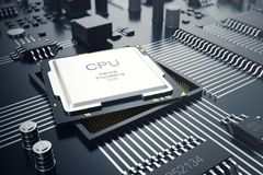 3d che rende concetto del CPU delle unità di elaborazione del computer centrale Ingegnere elettronico di tecnologie informatiche  Immagini Stock