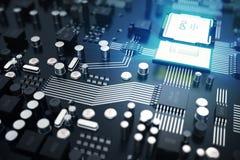 3d che rende concetto del CPU delle unità di elaborazione del computer centrale Ingegnere elettronico di tecnologie informatiche  Fotografia Stock Libera da Diritti