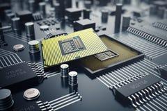 3d che rende concetto del CPU delle unità di elaborazione del computer centrale Ingegnere elettronico di tecnologie informatiche  Immagine Stock Libera da Diritti