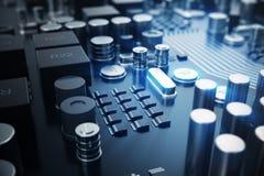 3d che rende concetto del CPU delle unità di elaborazione del computer centrale Ingegnere elettronico di tecnologie informatiche  Immagine Stock
