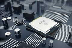 3d che rende concetto del CPU delle unità di elaborazione del computer centrale Ingegnere elettronico di tecnologie informatiche  Fotografie Stock