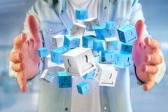 3d che rende cubo blu e bianco su un'interfaccia futuristica Immagini Stock Libere da Diritti