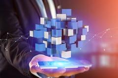 3d che rende cubo blu e bianco su un'interfaccia futuristica Fotografie Stock Libere da Diritti