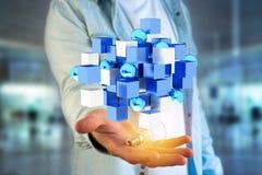 3d che rende cubo blu e bianco su un'interfaccia futuristica Immagine Stock Libera da Diritti