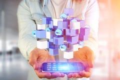 3d che rende cubo blu e bianco su un'interfaccia futuristica Fotografie Stock