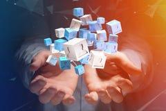 3d che rende cubo blu e bianco su un'interfaccia futuristica Immagine Stock