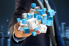 3d che rende cubo blu e bianco su un'interfaccia futuristica Fotografia Stock Libera da Diritti