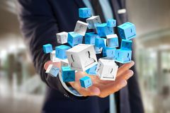 3d che rende cubo blu e bianco su un'interfaccia futuristica Immagini Stock