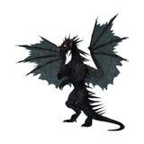 3D che rende drago nero su bianco Immagine Stock