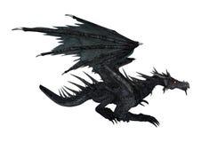 3D che rende drago nero su bianco Immagine Stock Libera da Diritti