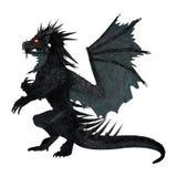 3D che rende drago nero su bianco Immagini Stock Libere da Diritti