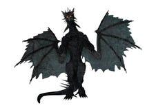 3D che rende drago nero su bianco Fotografia Stock Libera da Diritti