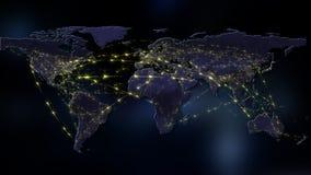 3D che rende estratto della rete del mondo, di Internet e del concetto globale del collegamento Elementi di questa immagine ammob Immagini Stock