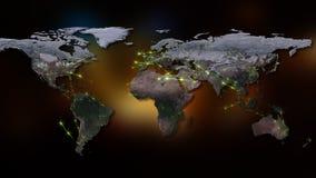 3D che rende estratto della rete del mondo, di Internet e del concetto globale del collegamento Elementi di questa immagine ammob Fotografie Stock Libere da Diritti