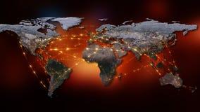 3D che rende estratto della rete del mondo, di Internet e del concetto globale del collegamento Elementi di questa immagine ammob Immagini Stock Libere da Diritti