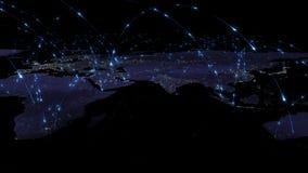 3D che rende estratto della rete del mondo, di Internet e del concetto globale del collegamento Elementi di questa immagine ammob Immagine Stock Libera da Diritti