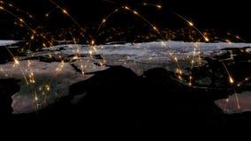 3D che rende estratto della rete del mondo, di Internet e del concetto globale del collegamento Elementi di questa immagine ammob Immagine Stock