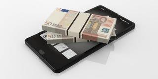 3d che rende 50 euro pile delle banconote su uno smartphone Immagine Stock Libera da Diritti