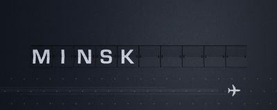 3D che rende Flip Board Capital Minsk Immagini Stock