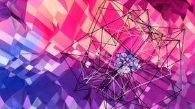 3d che rende fondo geometrico astratto con i colori moderni di pendenza nel poli stile basso superficie 3d con rosso blu Royalty Illustrazione gratis