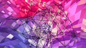 3d che rende fondo geometrico astratto con i colori moderni di pendenza nel poli stile basso superficie 3d con rosso blu Illustrazione Vettoriale