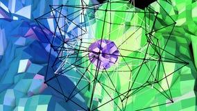 3d che rende fondo geometrico astratto con i colori moderni di pendenza nel poli stile basso superficie 3d con verde blu Illustrazione Vettoriale