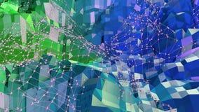 3d che rende fondo geometrico astratto con i colori moderni di pendenza nel poli stile basso superficie 3d con verde blu Royalty Illustrazione gratis