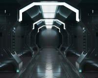 3D che rende gli elementi di questa immagine ammobiliati, interno bianco dell'astronave, tunnel, corridoio, corridoio illustrazione vettoriale