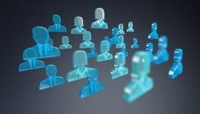 3D che rende gruppo di gente del blu dell'icona Fotografia Stock Libera da Diritti