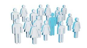 3D che rende gruppo di persone con l'uomo blu nel mezzo Fotografia Stock Libera da Diritti