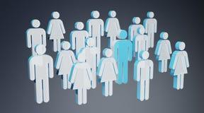 3D che rende gruppo di persone con l'uomo blu nel mezzo Fotografie Stock Libere da Diritti