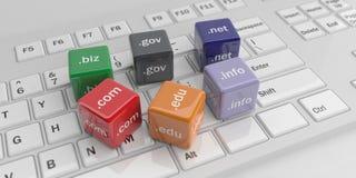 3d che rende i cubi della rappresentazione 3d con i Domain Name su una tastiera bianca della tastiera Immagine Stock