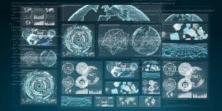 3D che rende i grafici digitali e lo schermo dell'ologramma del grafico Fotografie Stock Libere da Diritti