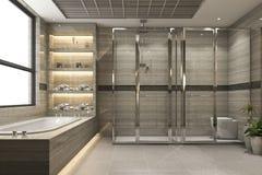 3d che rende il bagno moderno del sottotetto con la decorazione di