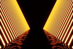 3D che rende il buio ha illuminato il corridoio di luce al neon rossa Luce al neon futuristica elegante sulla parete Immagini Stock