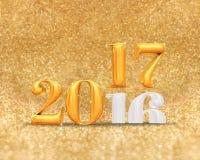 3d che rende il cambiamento dorato di anno di numero di colore 2016 a 2017 anni a Fotografia Stock
