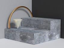 3d che rende il podio nero grigio di provvedimenti concreti della parete del fondo astratto dell'angolo illustrazione di stock