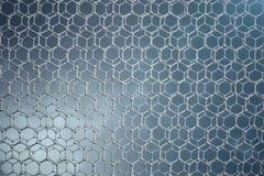 3D che rende il primo piano geometrico esagonale della forma di nanotecnologia astratta Concetto della struttura atomica di Graph illustrazione di stock
