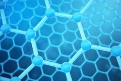 3D che rende il primo piano geometrico esagonale della forma di nanotecnologia astratta Concetto della struttura atomica di Graph illustrazione vettoriale