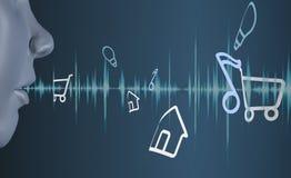 3d che rende il sistema di riconoscimento della voce capo di terra blu immagini stock