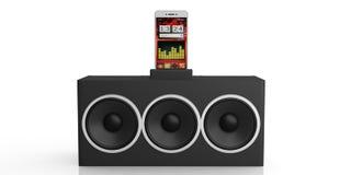 3d che rende l'audio scatola e smartphone dell'altoparlante su fondo bianco Immagine Stock Libera da Diritti