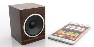 3d che rende l'audio scatola e smartphone dell'altoparlante su fondo bianco Immagini Stock