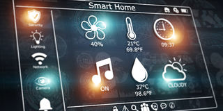 3D che rende l'interfaccia digitale moderna della casa intelligente Fotografia Stock