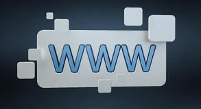 3D che rende la barra dell'icona di web di WWW Immagine Stock Libera da Diritti